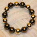 Armband Perlkugel braun-silber