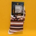 Damen-Socken braun/weiss/lila gestreift