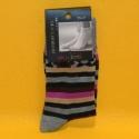 Damen-Socken grau/lila/braun gestreift