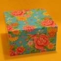 Geschenkbox flower blau 13.5x13.5x9.5cm