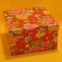 Geschenkbox flower rot 13.5x13.5x9.5cm
