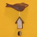 Holz-Zierstab Vogel mit Haus