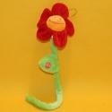 Plüsch-Blume rot mit Stiel 35 cm