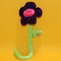 Plüsch-Blume violett mit Stiel 35 cm