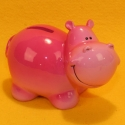 Spardose Nilpferd rosa, Keramik