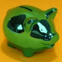 Spardose Schwein metallic blau-grün