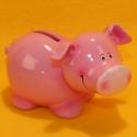 Spardose Schwein rosa, Keramik